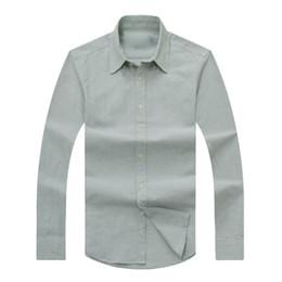 Wholesale Grey Black Silver Sleeves Shirt - 2018 autumn winter men's long-sleeved Dress shirt men's casual POLO small horse Grey shirts fashion USA Brand Designer Oxford social shirt