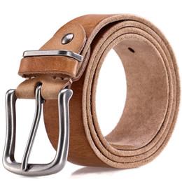 8e8f1c81b49 2018 ceintures hommes haute qualité luxe 100% pleine fleur en cuir véritable  bracelet souple camel gris cow-boy mâle broche boucle ceinture homme