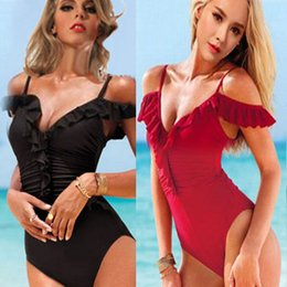 Corte black out um pedaço swimsuit on-line-Mulheres Sexy Preto One-Piece Cut Out Monokini Swimsuit Acolchoado Swimwear