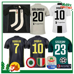 Argentina 18 19 Juventus RONALDO DYBALA HIGUAIN POGBA camiseta de fútbol 2018 2019 Versión del jugador Italia juve MARCHISIO MANDZUKIC BUFFON camisa de hombre de casa cheap italy s jersey Suministro