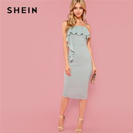 20187 SHEIN Green Party Elegant Flounce Embellished Fitted Ruffle Spaghetti  Strap Natural Waist Dress Summer Women Going Out Dresses 25c11baed550