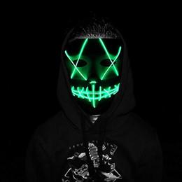 2019 led luce fantasma Maschera fantasma EL Wire 10 colori fessura bocca illuminata maschera LED incandescente Maschere per feste di Halloween Cosplay led luce fantasma economici