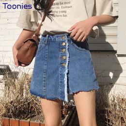 Wholesale High Waist Skirt Korean - Spring New Korean Fashion Denim Shorts Skirts Womens SIngle Breasted High Waist Short Jeans Woman All matched Short Feminino