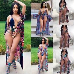 Wholesale red shrugs - 2018 newest swimwear for women one piece bandage bathing suits swimsuit + Women plus size cover up shrug dress beach set
