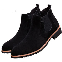 Wholesale winter dress for male - 2018 hot sale Vintage Suede Chelsea Men Leather Boots British Style Men's Ankle Boot For Autumn Winter Male Nubuck Dress Shoes