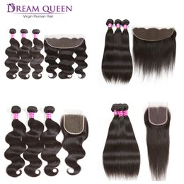 Wholesale Ombre Style - Brazilian Virgin Hair 3 Bundles Body Wave Straight Style With 13x4 Lace Frontal Or 4x4 Lace Closure Peruvian Human Hair Weft Extensions