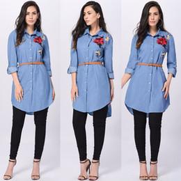 4287b46b0b3 women Blue Denim shirt Dress Casual Loose long Sleeve embroidery flowers T shirt  dresses Sexy Mini Dress Ladies Jean Dresses inexpensive ladies denim long  ...