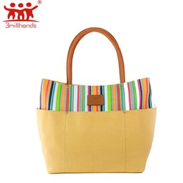 сумки для покупок Скидка Limited Edition 3Millhands canvas women handbag multi color striped embroidery fashion tote six silt pocket women bags designer