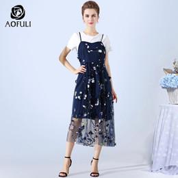 9d5d87e95fd wholesale S- XXXL 4XL 5XL Women Tulle Dress Set Two Piece Tops Dress Suit  Summer Short Sleeve T-shirt And Strap Dress Twinset 3476