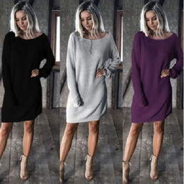 Wholesale Girl Sexy Loose Dress - Fashion Autumn Winter Women Sexy Dress Solid Color Long Sleeve Ladies Girls Loose Casual Dresses Plus Size S-3XL FS99
