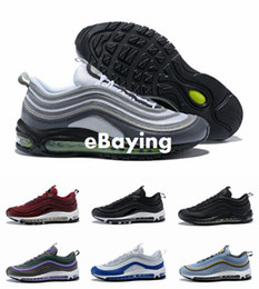 Wholesale neon shoes for men - 2018 Newest 97 ultra OG Bullet Cell Silver Bordeaux Neon Black Volt Game Royal Running Shoes Sports for Men Women Sneakers Size 36-46