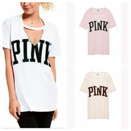 Wholesale White Tee Women - Women Pink Printed Shirts Pink Letter Tops Tees V Neck Short Sleeve Pink Letter T-Shirt OOA4794
