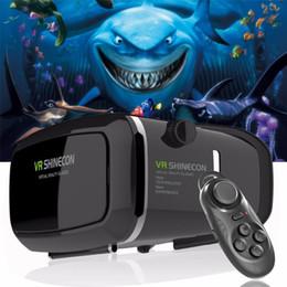 Google cartón bluetooth online-¡Caliente! 2018 Google Cardboard VR shinecon Pro Version VR Realidad Virtual Gafas 3D + Smart Bluetooth Control Remoto Inalámbrico Gamepad