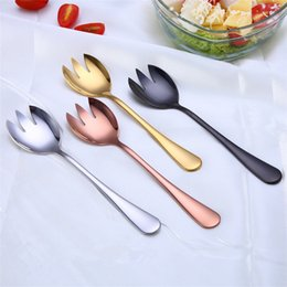 Wholesale Metal Forks - Gold Copper Black Titanium Plated Stainless Steel Salad Spoon Salad Fork, Shiny Colorful Salad Spoon and Fork