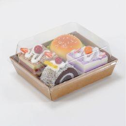 Wholesale Plastic Salad Boxes - Sandwich Box Salad Dessert Hotdog Cake Packaging Boxes with Transparent Plastic Lids Kraft Paper Cardboard pastry box