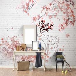 Papel de parede rosa vintage on-line-Papel de parede de estilo nórdico para paredes 3D Damask Wallpapers Papel de parede de flor de cerejeira Vintage para sala de estar