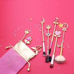 pinceles de artista de maquillaje Rebajas 2018 Nuevo Estilo Lindo Cardcaptor Sakura / Sailor Moon Pinceles de Maquillaje Set Outfit Pelo Sintético Rose Gold Brush Artist Brush Tool