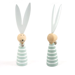 Wholesale Wood Ornament Craft - easter rabbit decoration 1pc wood blue easter rabbit ornaments wood crafts home decoration bunny with metal ears