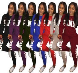Wholesale Pink Pullovers - 7 Color Pink Sports Suit Women Lady Pink Letter Tracksuit Printed Sweatshirts Pants Long Sleeve Pullovers EEA153