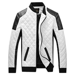 Wholesale Men White Leather Motorcycle Jacket - Wholesale- 6XL 2017 New Brand Leather Jacket Mens Plus Size Winbreak Patchwork Black&White Pu Jacket Thin&Thick Warm Motorcycle Coats XA049