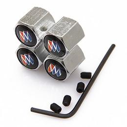 Wholesale valve model - 4Pcs Lot Chrome Anti-theft Metal Car Wheel Tyre Tire Stem Air Valve Cap for Buick model