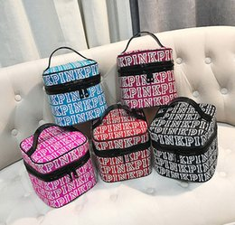 Wholesale Double Makeup Bag - PINK Cosmetic Bag Double Zipper Pink Letter Handbag Portable Storage Bag Pink Letter Organizer Travel Makeup Pouch 5 colors