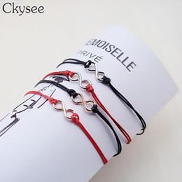 bracelets infinis pour couples Promotion Ckysee All-Match Couleurs De Bonbons Infini Bracelets pour Femmes Couple Charme En Alliage De Couleur Dorée Chanceux Rouge Chaîne Bracelets Bijoux