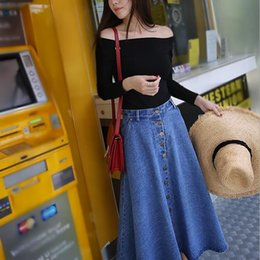 ba7aef166f4 New Women Denim Skirt Elastic Waist Breasted Skirt Saias Faldas Vintage  Loose Casual A-Line Midi Skirts Jupe Femme