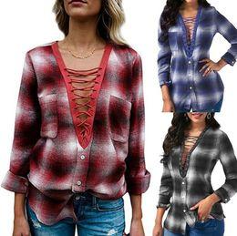 Wholesale ladies office shirts blouses - Women Casual Bandage Plaid Long Sleeve Shirt Loose Blouse V Neck Print Tops Shirts Office Lady Tops LJJO4206