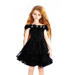 Wholesale Kids Western Dresses - Dolls Accessories 1 4 BJD SD Dolls Dress Black Off Shoulder Party Gown Dress Birthday Gift for Girl Kid Toy Doll Clothes Collect