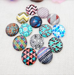 Wholesale geometry pictures - 50pcs HOT selling Multicolored geometry galss Snap button Charm Popper for Snap Jewelry picture pendant