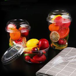 2019 recipientes redondos de doces de plástico Quatro tamanhos opcionais Descartável caixa de salada de plástico transparente rodada sobremesa de frutas takeaway tigela caixas de embalagem de alimentos DHL frete grátis