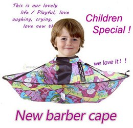 Wholesale Hairdressing Supplies - 1pc Lovely Children Barber Cape Kid Convenient Fold Hair Cut Hairdressing styling tools hairdresser supplies apron Waterproof