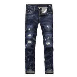 Wholesale Men Harem Pants Zippers - 2018 French fashion Pierre straight jeans, men's jeans, stretch jeans, casual bike holes, men's tight pants, elastic pants #13327