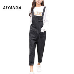 be66779095a Brief Loose Casual Style Women Strap Jeans Female Overalls Pants Pocket  Denim Ankle-Length Trousers Student Jeans Spring Autumn