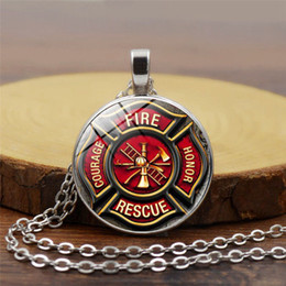 firefighter pendant Coupons - Rescue Firefighter Necklace Fire Fighter Pendant Fireman Jewelry Fire Department Pendant Necklace Glass Cabochon Silver Jewery