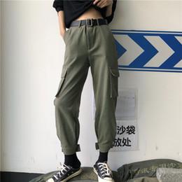 carga mulheres calças estilo Desconto Calças Mulheres Sólidos Bolsos Soltos Cintura Alta Com Zíper Calça Carga Womens BF Lazer Harajuku Estilo Coreano Calças Estudantes Na Moda