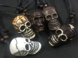 Wholesale Tibet Wood Carvings - Free Shipping 12 pcs YQTDMY Wholesale Fashion jewelry Carved Skull Charm Necklace Jewelry Wood Beads Rope Adjustable