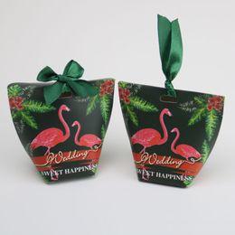 2019 imballaggio della decorazione del nastro Scatole di caramelle Flamingo con nastro regalo Confezioni di carta Borse per la festa di compleanno di nozze Scatole di imballaggio di Natale Decorazione della tavola sconti imballaggio della decorazione del nastro