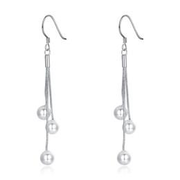 Wholesale Three Pearl Pendant - Best Fashion Real 925 Sterling Silver Earrings Women's Dangle Jewelry Three Pearl Beads Pendant Silver Earrings e154