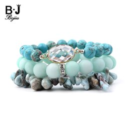 chip stone jewelry wholesale Promo Codes - BOJIU Natural Stone Pear Crystal Charm Bracelet For Women Jewelry Teal Blue Howlite Stretch Chips Beads Bracelets Set Femme 152