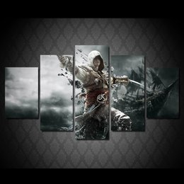 assassin figures Promo Codes - HD Printed Game Poster Assassins Creed Figure Oil Painting On The Wall Art Canvas Pictures For Living Room HD Modular Pictures