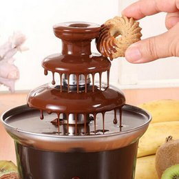 Wholesale Fondue Chocolate - New Mini Chocolate Fountain Household 3-tier Chocolate Fondue Machine Choco Tree Wedding Birthday Party Supplies Cooking Tools