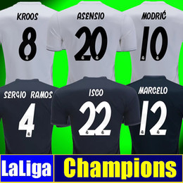 Wholesale short soccer real madrid - Thailand Real madrid jersey 2019 soccer jerseys sergio ramos maillot ASENSIO MODRIC football Kit shirt 18 19 Champion league men women kids