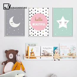 Wholesale Quote Prints Art - Cartoon Moon Star Nursery Quote Wall Art Canvas Poster Prints Kawaii Nordic Painting Picture Baby Bedrooom Decoration Home Decor