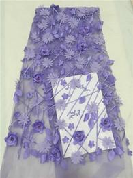 Tissu applique en dentelle pourpre en Ligne-Perle pourpre de haute qualité Tulle Lace 2018 Dernier tissu en dentelle africaine 3D Handwork Flower Applique Afican French Wedding