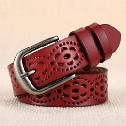 Wholesale Wholesale Carved Leather Belts - Women Fashion Wide Genuine Leather Belt Floral Carved Cow Skin Belts for Jeans Top Quality Female Straps Vintage Ceinture Femme