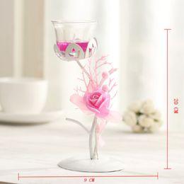 Canada Nouveau Style Européen Creative Fleur en verre Chandelier Bougeoir De Mariage Décoration de La Maison Bougie Lanterne Titulaire de Noël décor Offre