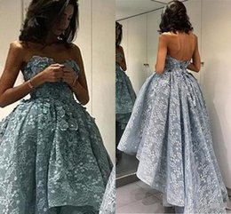 Wholesale Modern Import - 2018 Sexy Formal Dress High Low Lace Prom Dresses Long Modest Strapless Special Occasion Imported Party Dress Vestido