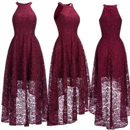 burgundy high low prom dresses Coupons - Sexy Halter Cheap Burgundy Lace Evening Dresses Halter Sleeveless High Low Designer Formal Occasion Wear Christmas Party Gown CPS1151